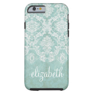 Ice Blue Vintage Damask Pattern with Grungy Finish Tough iPhone 6 Case