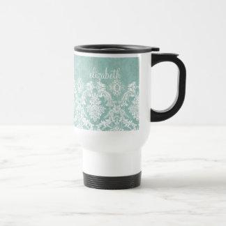 Ice Blue Vintage Damask Pattern with Grungy Finish Travel Mug