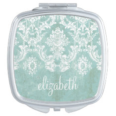 Ice Blue Vintage Damask Pattern With Grungy Finish Vanity Mirror at Zazzle