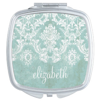 Ice Blue Vintage Damask Pattern with Grungy Finish Vanity Mirror