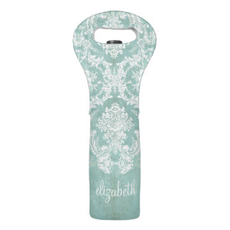 Ice Blue Vintage Damask Pattern with Grungy Finish Wine Bags