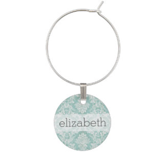 Ice Blue Vintage Damask Pattern with Grungy Finish Wine Glass Charm