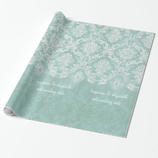 Ice Blue Vintage Damask Pattern with Grungy Finish Wrapping Paper
