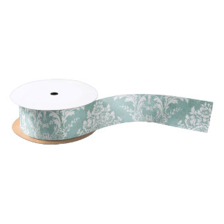 Ice Blue Vintage Damask Pattern with Grungy Finish Satin Ribbon