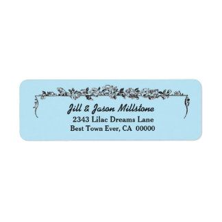 Ice Blue Vintage Flowers Wedding A004 Label