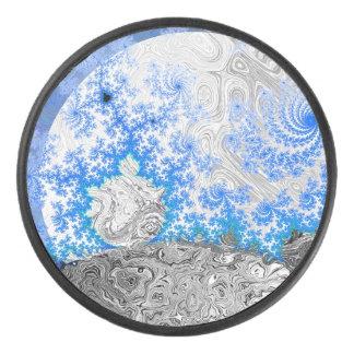 Ice Blue White Fractal Galaxy Universe Bright Star Hockey Puck