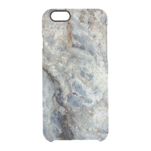 Ice blue white marble stone finish clear iPhone 6/6S case