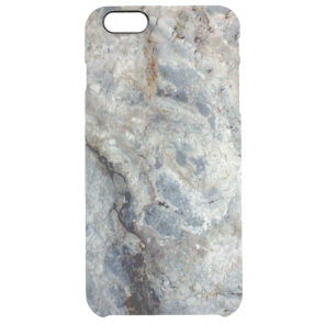 Ice blue white marble stone finish clear iPhone 6 plus case