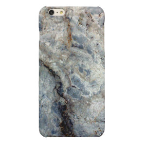 Ice blue white marble stone finish glossy iPhone 6 plus case