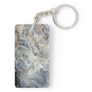 Ice blue white marble stone finish keychain
