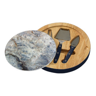 Ice blue white marble stone finish round cheese board