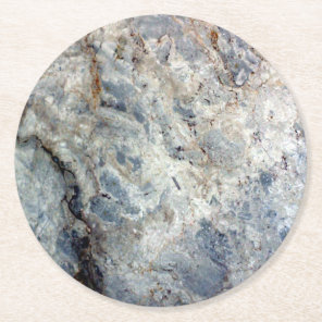 Ice blue white marble stone finish round paper coaster