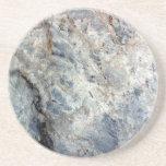 Ice blue white marble stone finish sandstone coaster