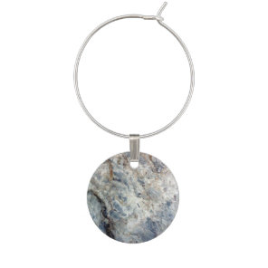 Ice blue white marble stone finish wine charm
