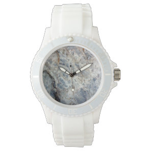 Ice blue white marble stone finish wristwatch