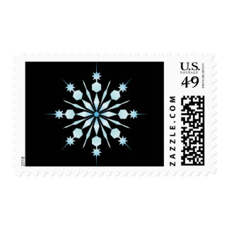 Ice Blue winter snowflake Christmas Holiday Postage