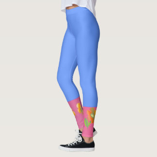 Ice Blue with Pink Border> Colourful Leggings