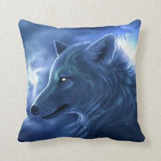 Ice Blue Wolf Throw Pillow