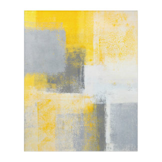 'Ice Box' Grey and Yellow Abstract Art