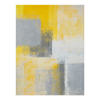 'Ice Box' Grey and Yellow Abstract Art Poster