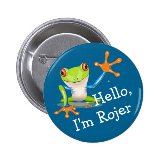 Ice Breaker Friendly Frog Personalized Button