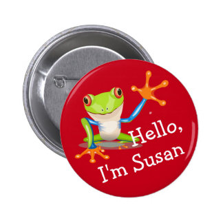 Ice Breaker Friendly Frog Personalized Pinback Button