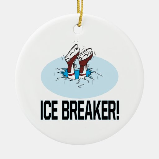 Ice Breaker Double-Sided Ceramic Round Christmas Ornament