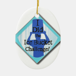 Ice Bucket Challenge Double-Sided Oval Ceramic Christmas Ornament