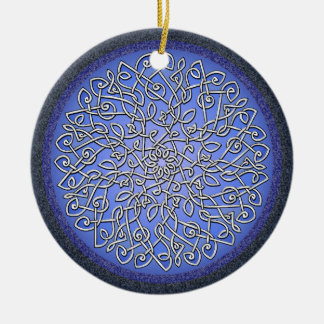 Ice Celtic Burst Double-Sided Ceramic Round Christmas Ornament