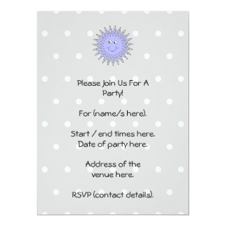 Ice Character with a Smile. Blue and Gray. 6.5x8.75 Paper Invitation Card