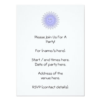 Ice Character with a Smile. Blue on White. 6.5x8.75 Paper Invitation Card