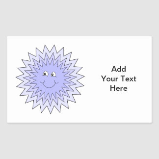 Ice Character with a Smile. Blue on White. Rectangular Sticker