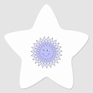 Ice Character with a Smile. Blue on White. Sticker
