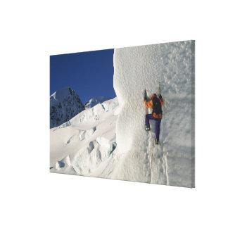 Ice climbing on the Tasman Glacier below Mount Canvas Prints