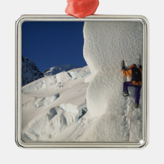 Ice climbing on the Tasman Glacier below Mount Metal Ornament