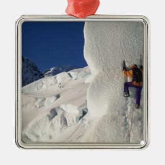 Ice climbing on the Tasman Glacier below Mount Metal Ornament