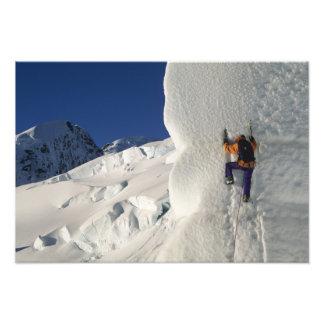 Ice climbing on the Tasman Glacier below Mount Photograph
