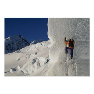 Ice climbing on the Tasman Glacier below Mount Poster