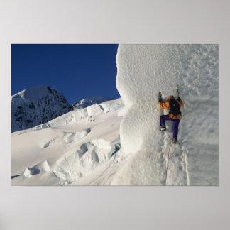 Ice climbing on the Tasman Glacier below Mount Print