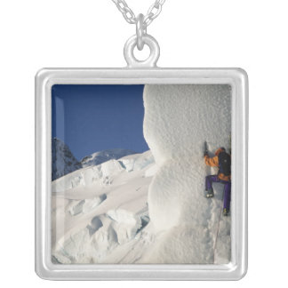 Ice climbing on the Tasman Glacier below Mount Silver Plated Necklace