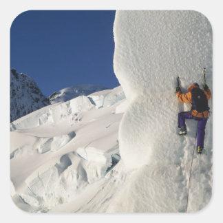 Ice climbing on the Tasman Glacier below Mount Square Sticker