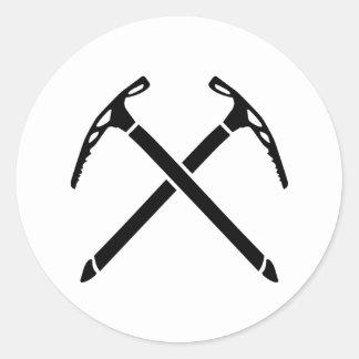 Ice climbing picks axe round sticker