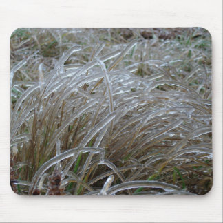 Ice coated grass mouse pad