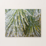 Ice-Coated Pine Needles Winter Nature Photography Jigsaw Puzzle