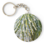 Ice-Coated Pine Needles Winter Nature Photography Keychain