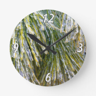 Ice Coated Pine Needles Winter Nature Photography Round Clock