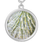Ice-Coated Pine Needles Winter Nature Photography Silver Plated Necklace