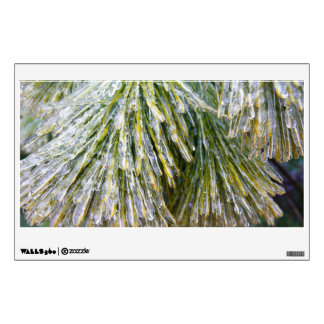 Ice-Coated Pine Needles Winter Nature Photography Wall Decal