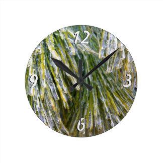 Ice-Coated Pine Needles Winter Photography Round Clock
