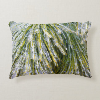 Ice-Coated Pine Needles Winter Photography Accent Pillow
